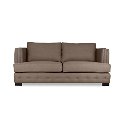South Cone Home Pierre Tufted Linen Sofa, 80u0026quot;, ...