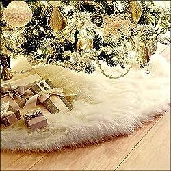 Dreamyth 78cm/90cm /120cm Christmas Plush Long Haired Christmas Tree Skirt Christmas Tree Skirt Decor (White, 78cm)
