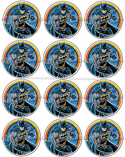 Batman Licensed Edible Cupcake/Cookie Toppers ~ 12 Per Sheet 37417 -