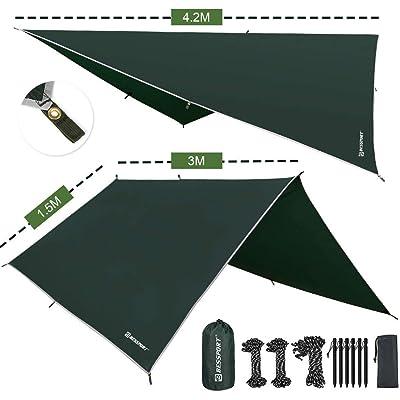 Bessport Tent Tarp Waterproof - Rain Fly Tent Tarp Light Ripstop Fabric-3M x 3M Ft, PU3000mm-Anti-UV, 6 estacas de Aluminio + 8 líneas Individuales, para Acampar, Viajar, al Aire Libre, hamacas