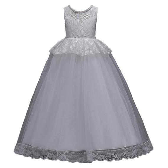 Abito Bambina Principessa Vestito da Cerimonia per la Damigella Pizzo  Matrimonio Carnevale Tutu Compleanno Festa Sera Ragazza Elegante Fiore Bimba  2-14 ... 2b5c114f706