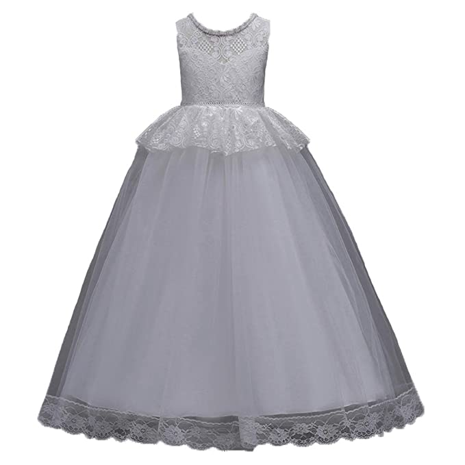 Abito Bambina Principessa Vestito da Cerimonia per la Damigella Pizzo  Matrimonio Carnevale Tutu Compleanno Festa Sera Ragazza Elegante Fiore  Bimba 2-14 ... 01144d535f3