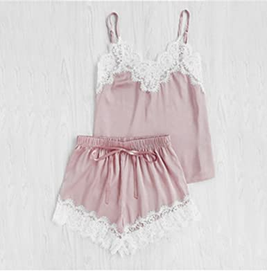 3206c51c3b29b New Women Sleeping Wear Sexy Pajama Sets Lace Trim Satin Spaghetti Strap  Cami Top and Shorts Pajama Set - Pink -  Amazon.co.uk  Clothing
