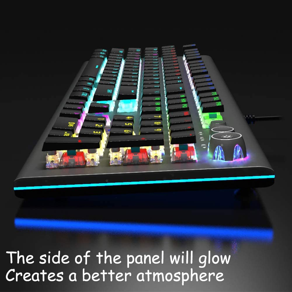 Aula Mechanical Gaming Keyboard,Programmable,Upgraded Blue Switches,USB Wired,Metal Panel,Multi-Colored Illuminated Backlight,for Office and Game,for Desktop Laptop Computer PC 2096-Black