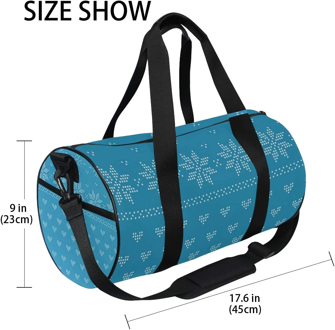MALPLENA Blue Classic Nordic Style Pattern Drum gym duffel bag women Travel Bag