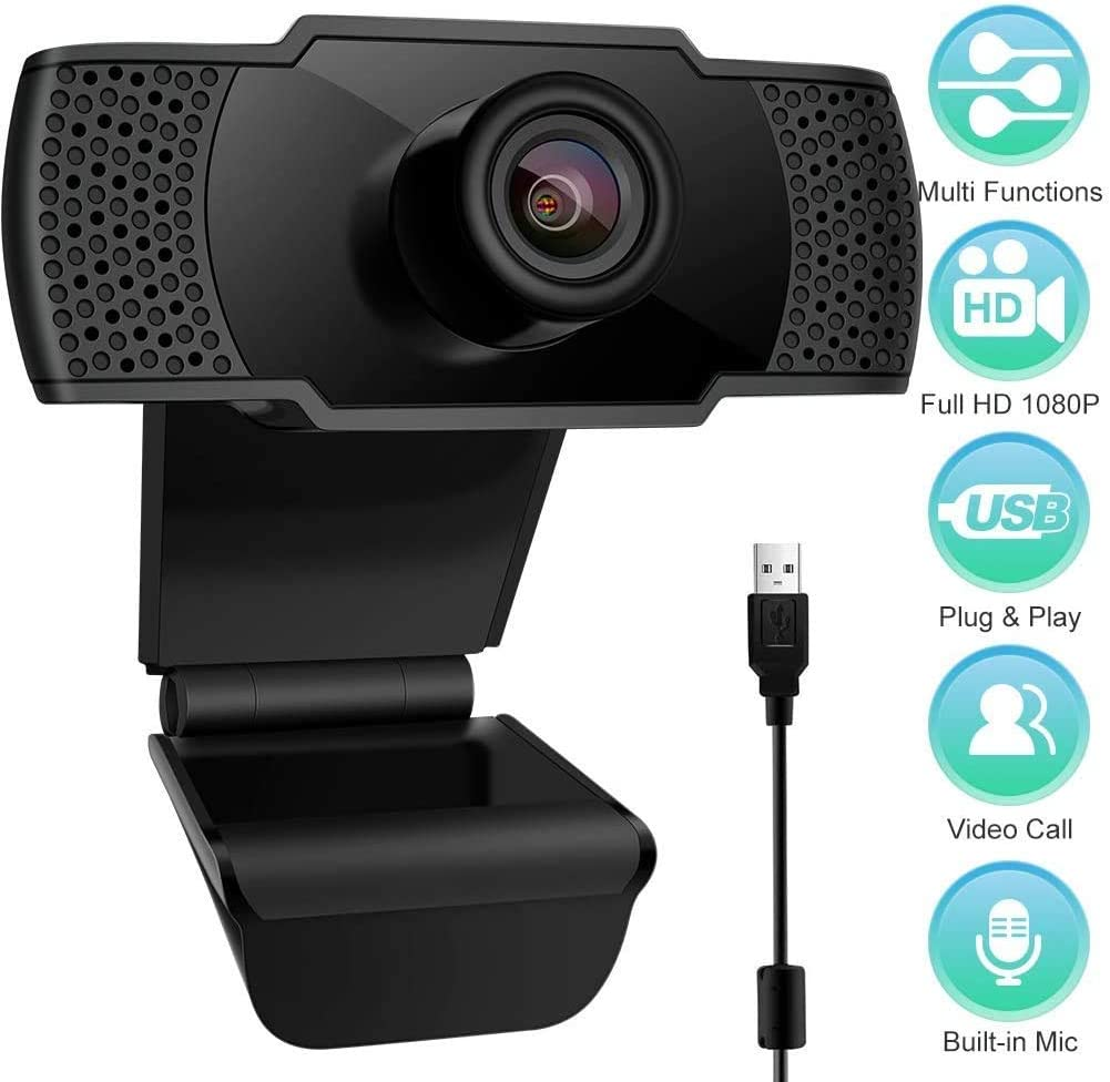 Studio Registrazione Webcam con Microfono Gioco con Clip Girevole conferenza USB 2.0 1080P FHD Web Webcam videocamera PC Desktop per videochiamate