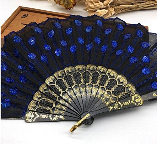 Black Purple Home Decoration Crafts Vintage Retro Peacock Folding Fan Hand Plastic Lace Dance Fans