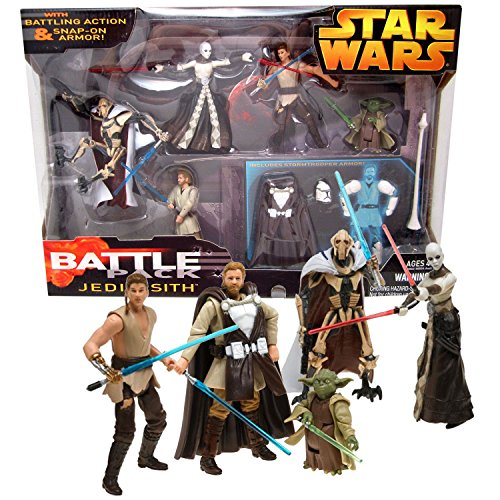 Star Wars Year 2005 Battle Packs Series 4 Inch Tall Figure Set - JEDI vs SITH with General Grievous, Anakin Skywalker, Obi-Wan Kenobi, Asajj Ventress, Yoda Plus Stormtrooper Armor -