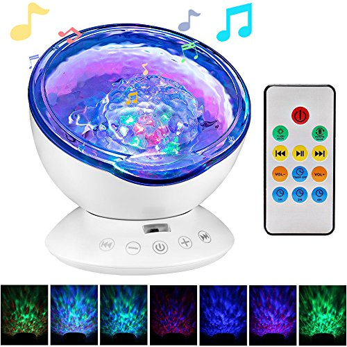 Ocean Wave Projector, Night Light Projector, LBell Sleep Sound Machine with Remote, Music Player, Timer, Room Decor for Infant Baby Kids, Nursery Living Room and Bedroom (White) from LBell