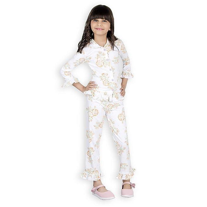 Olele® Floral Printed Girls Toddler Kids Printed Night Suit with Pajama Set   770732fe4