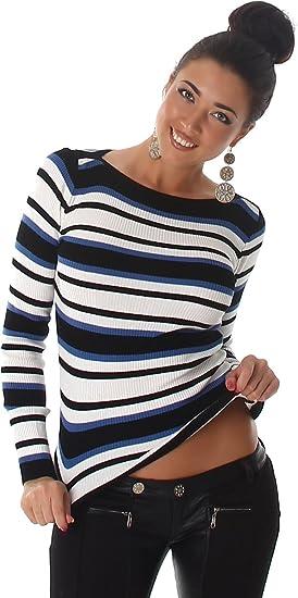 Voyelles Damen Pullover Pulli Sweater Langarm Carmen Ausschnitt Streifen gestreift Shirt 34,36,38,40