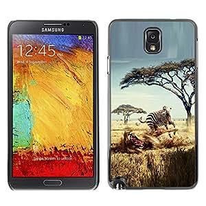 TopCaseStore / la caja del caucho duro de la cubierta de protección de la piel - Safari Zebra Lion Africa Wild Animal Trees - Samsung Galaxy Note 3 N9000 N9002 N9005