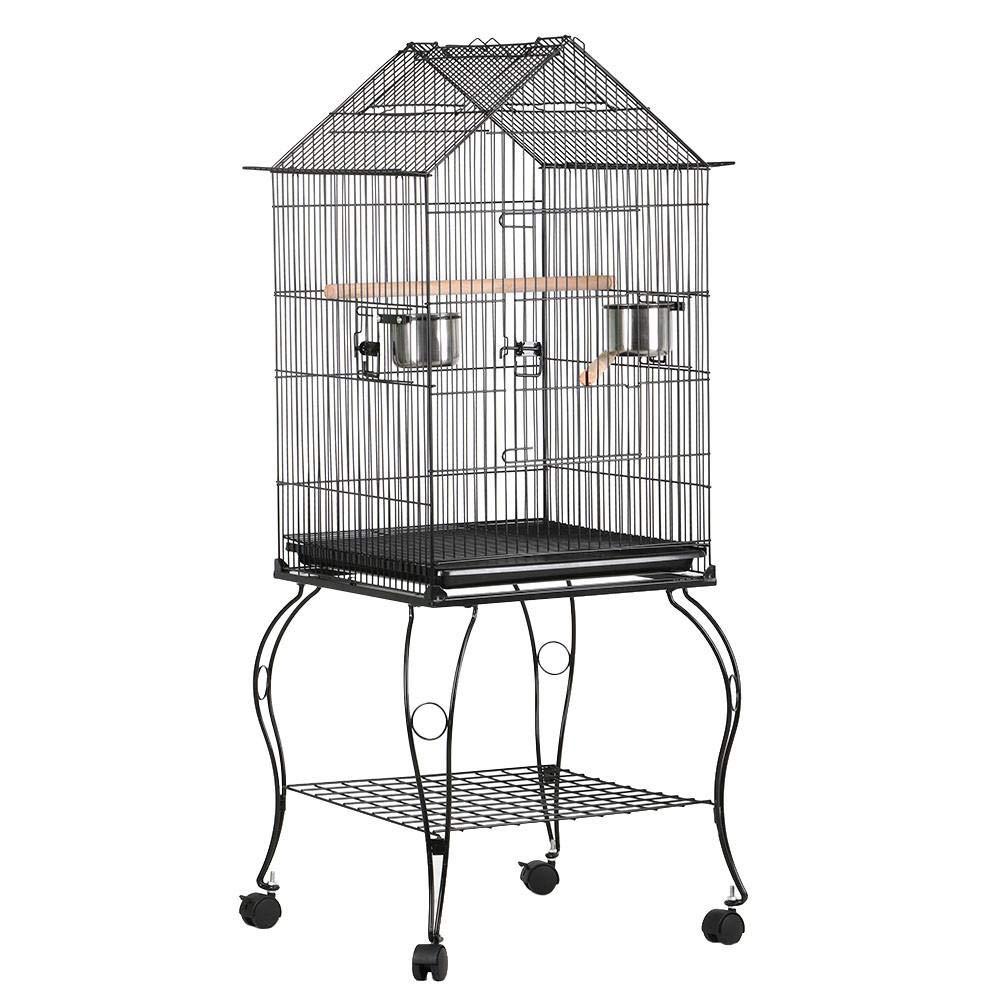 Yaheetech Gabbia Voliera per Uccelli Pappagalli in Metallo e Legno con Carrello Nera 59 x 59 x 145 cm