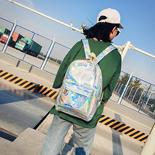 OULII Mode Glänzende Hologramm Laser Reißverschluss Pu-leder Rucksack Geldbörse Schulranzen Lässig Handtasche für Frauen Mädchen (Silber) mxlTJNip