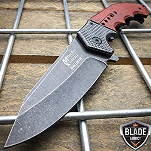 Only US 9″ SPRING ASSISTED OPEN Tactical Blade Folding POCKET KNIFE Wood Steampunk NEW