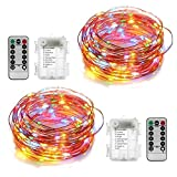 YIHONG 2 Set Fairy String Lights Battery Operated Twinkle Lights Waterproof 8 Modes 33FT 100 LEDs Firefly Lights Copper String Lights Remote Timer for Party Festival Garden Bedroom Decor-Multi Color