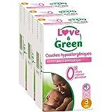 Love & Green - Couches Bébé Hypoallergéniques 0% -  Taille 3 (4-9 kg) - Lot de 3 x 52 couches (156 couches)