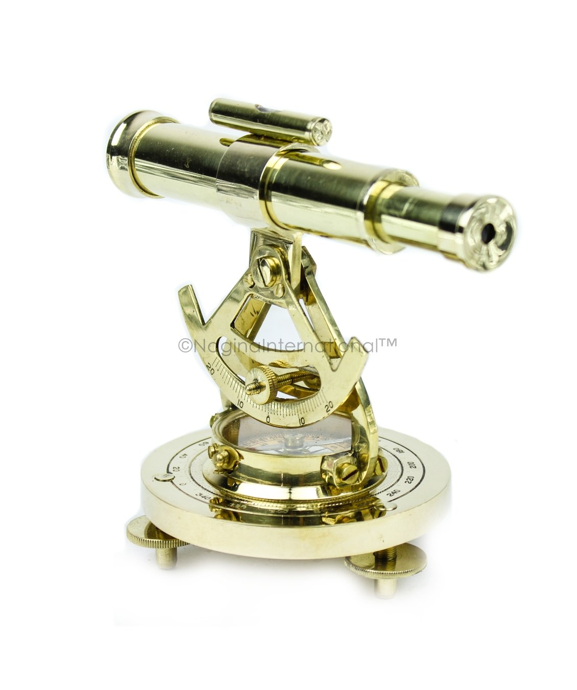 Nagina International Maritime Polished Brass Addaid Telescope Compass Functional Telescope & Level Meter | Home Decorative Metal Decor by Nagina International