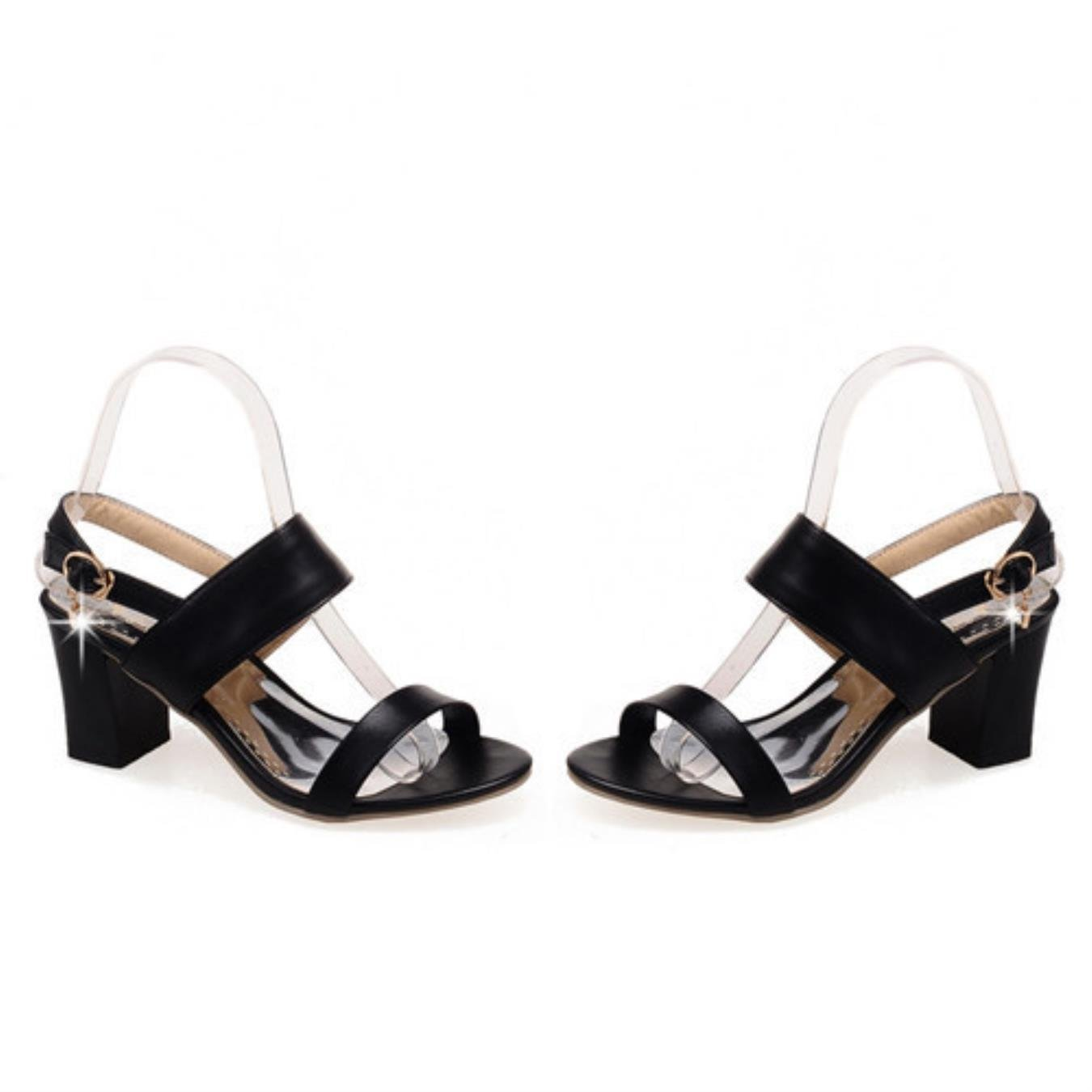 Amazon.com  Meotina Shoes Women Sandals Summer Open Toe Ankle Strap Party  Thick High Heels Sequined Black White Ladies Blue Shoes Size 43  Clothing 5231b7c81982