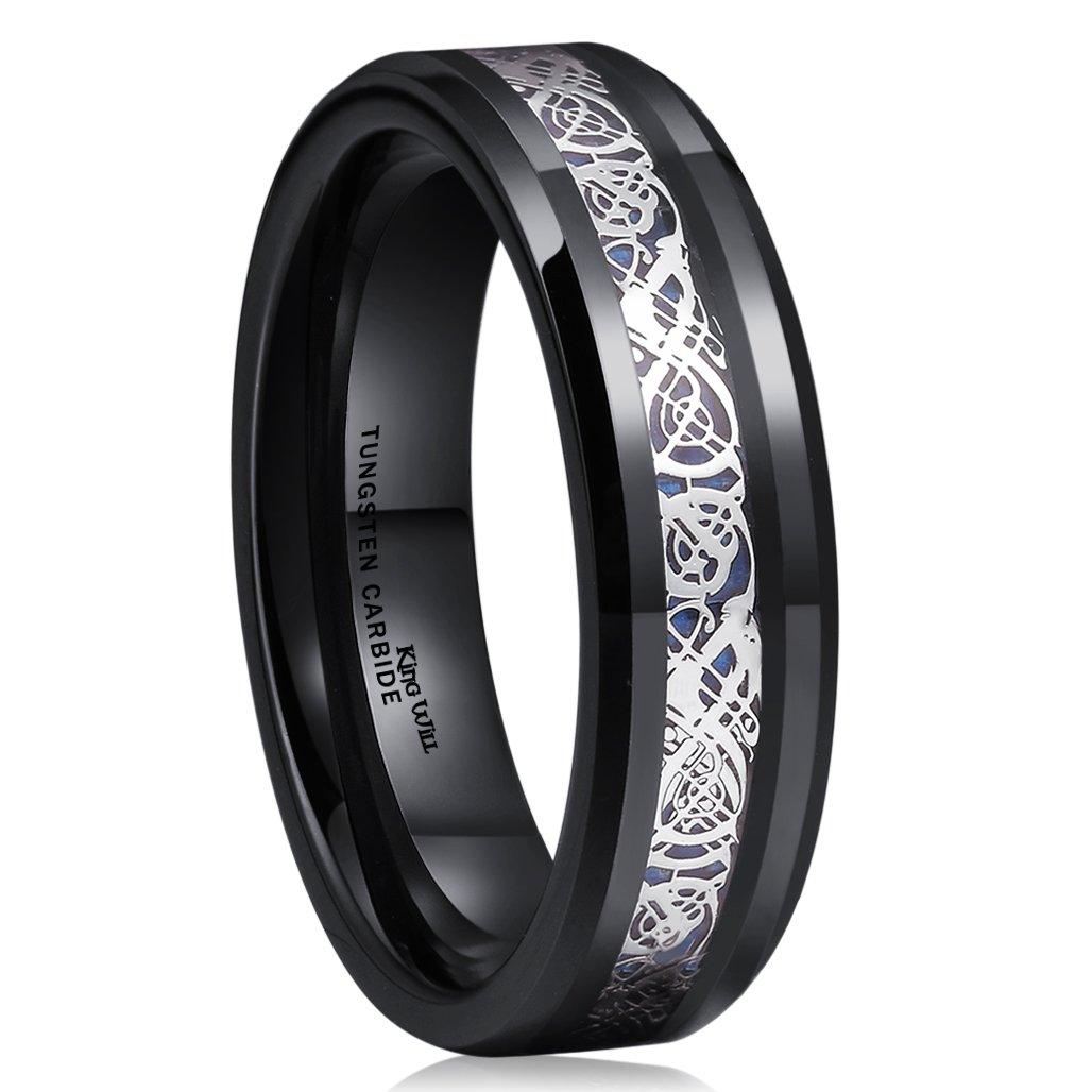 King Will DRAGON 6mm Black Tungsten Carbide Ring Blue Carbon Fiber Silver Celtic Dragon Wedding Band 10