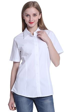 8269a496fd6 Seeksmile Women s Poplin Short-Sleeve Shirt at Amazon Women s Clothing  store