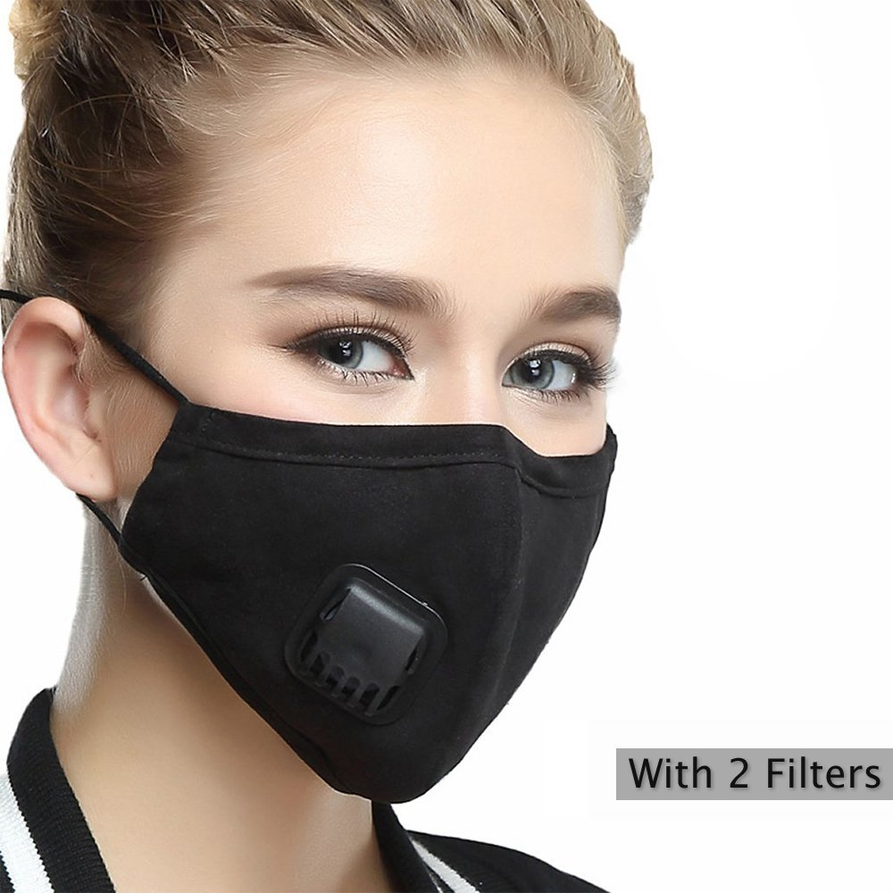 Pollution Mask Military Grade N99 Anti Dust+2 Filters Washable Cotton Respirator with Adjustable Ear Strap/Allergy/Cycling/Running/Hiking/Painting/Cleaning/Construction (Women-Black)