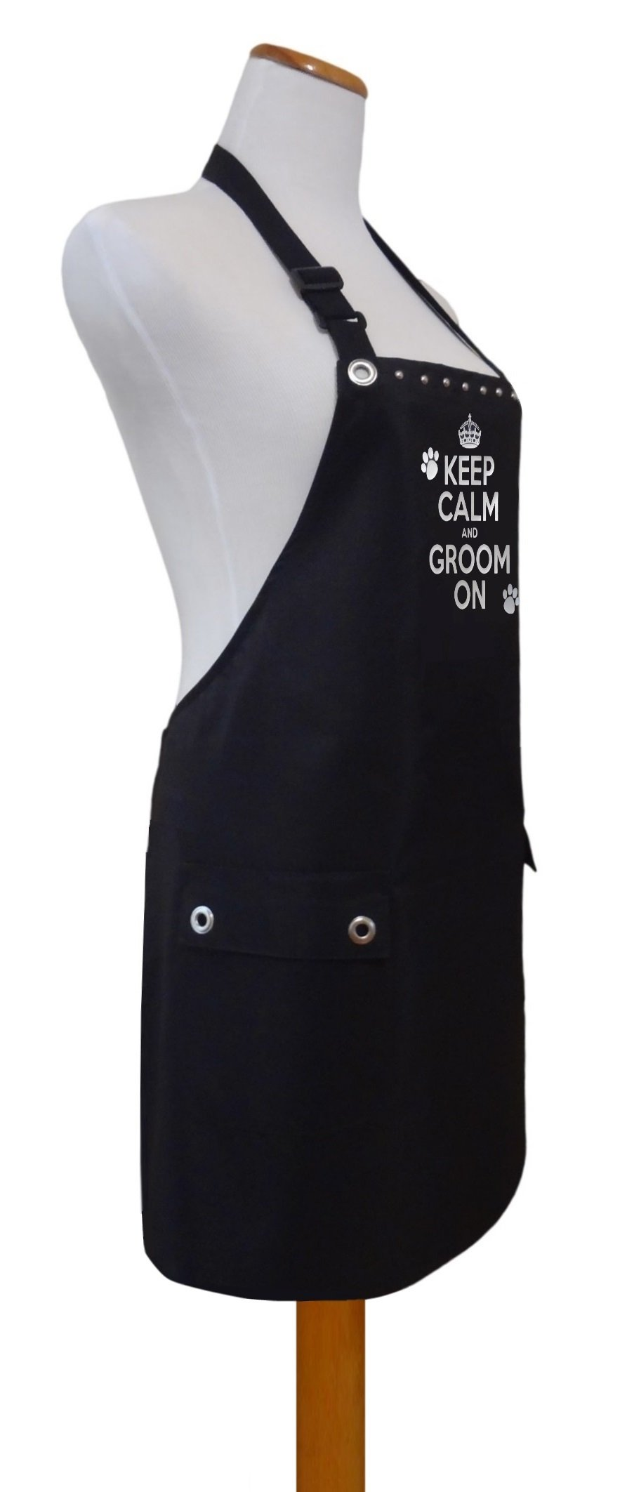 Trendy Salon Aprons Waterproof Pet Dog Grooming Groomers Apron, Keep Calm Groom On (Silver) by Trendy Salon Aprons
