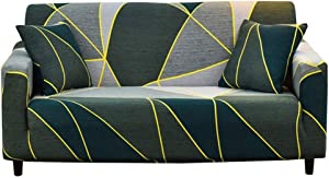 nordmiex Pattern Sofa Slipcover Stretch Arm Chair Large Sofa Slipcover with 2 Pillowcases Leather Furniture Protector for 3-Seat Sofa,Green/Grey/Yellow