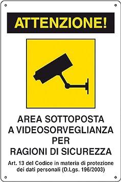 """VIDEOSORVEGLIANZA cm 20x20 N° 1 ADESIVO CARTELLO TARGA /""""AREA VIDEOSORVEGLIATA"""