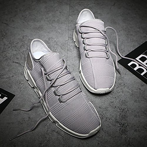 HLHN Gray Running Breathable Sneakers Sport Toe Stripe Gym Mesh Lace Leisure Men up Shoes Strap Cross Round Casual Fashion 66rHRU