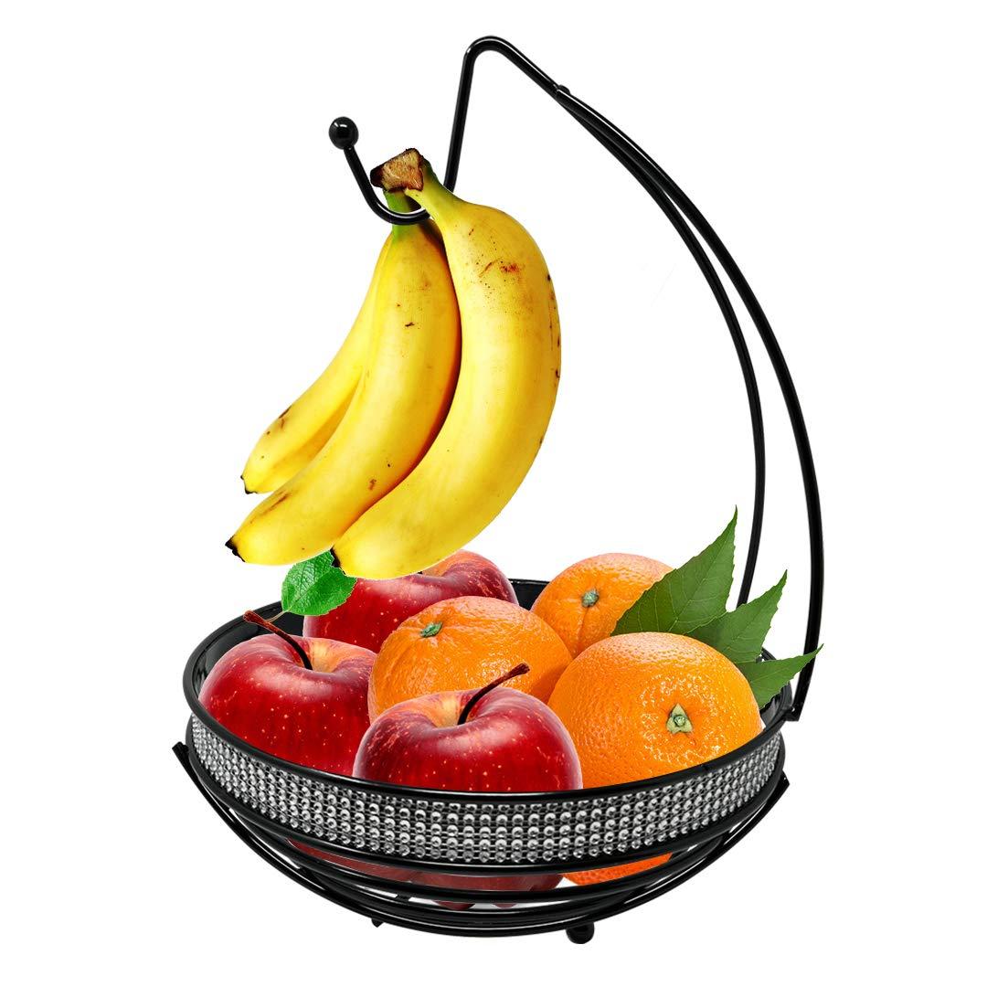 Fruit Basket Bowl with Banana Tree Hanger, Elegant Design Kitchen Display Rack Stand by American Dream, Sturdy and Decorative Multi-Purpose Storage Basket Holder, Grapes Hook (Black)