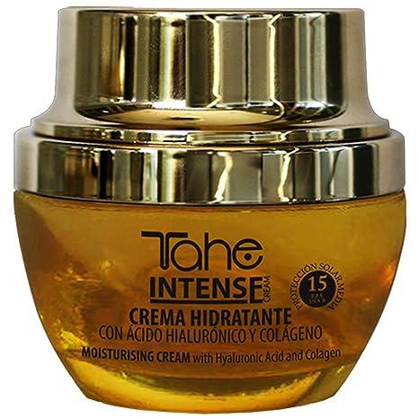 Tahe Intense Crema Facial Hidratante con Protección Solar 15 con Vitamina C y Ácido Hialurónico,
