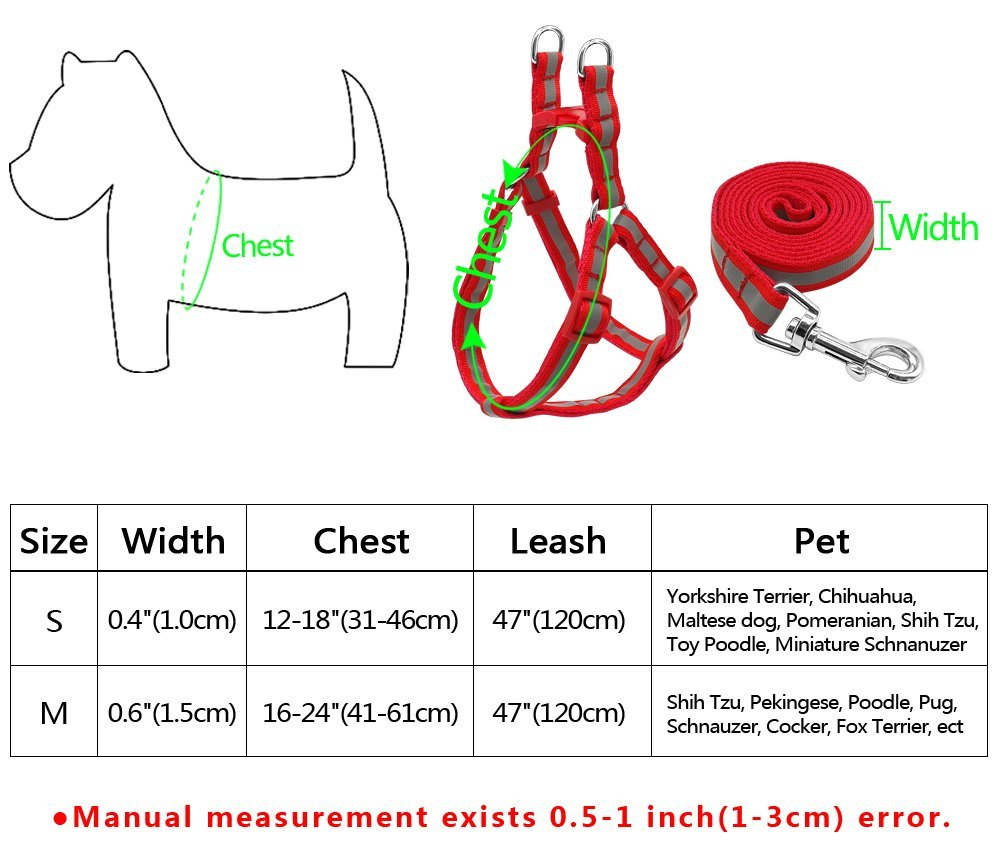 LOVELY 7 Colors Nylon Reflective Dog Harness Leash Lead Set For Small Medium Dogs Puppy Green S by LOVELY (Image #2)