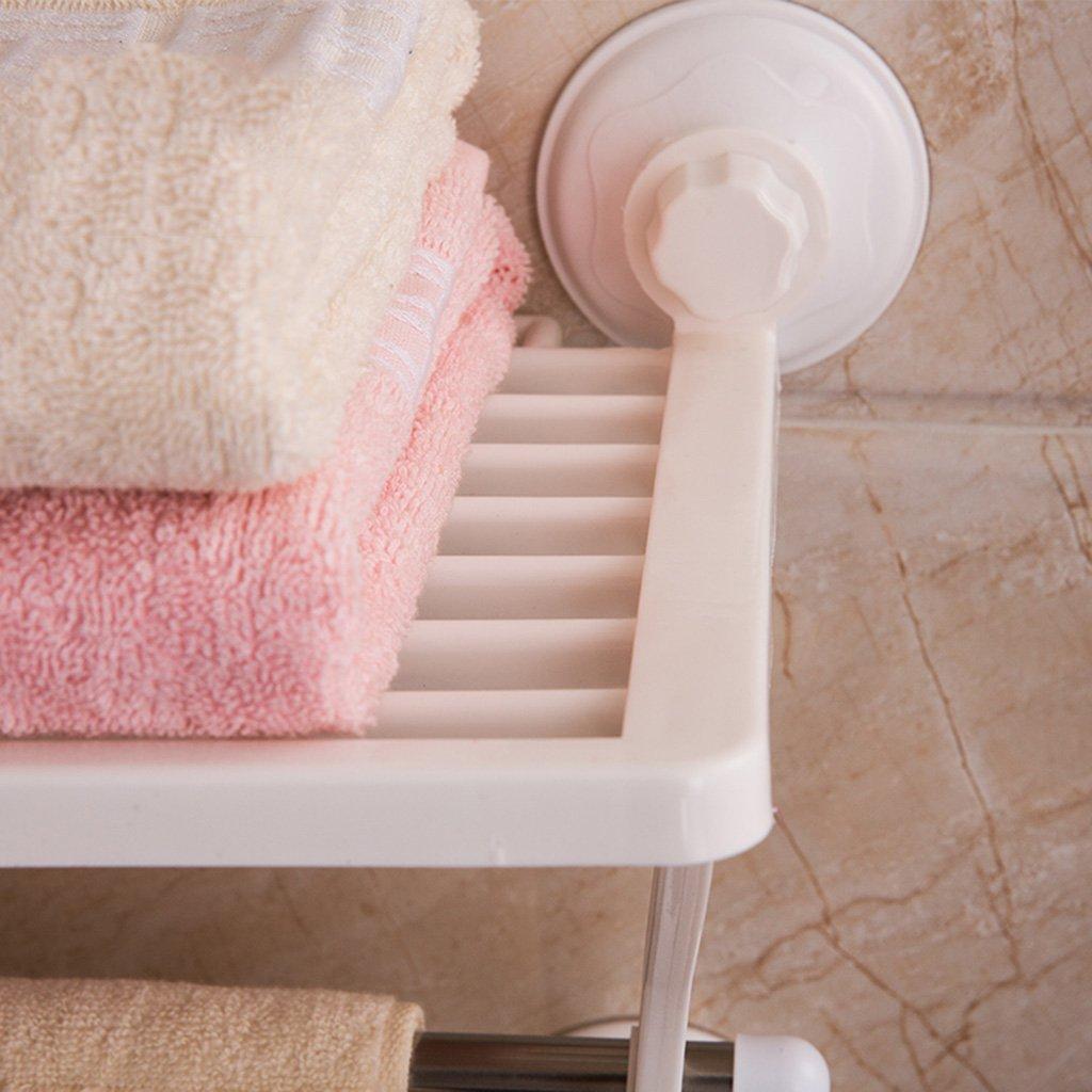 Estante de baño Toallero Tipo Ventosa de baño Cuarto de baño Toallero Doble Soporte de Pared Barra de Toalla de Acero Inoxidable Accesorios de baño: ...