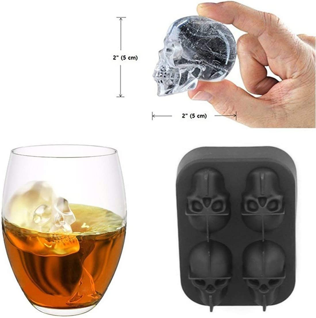 Non-Toxic Eco-Friendly Soft Silicone Summer Ice Mold Skull Shape Halloween DIY Frozen Ice Mold Mouls Decorating Tools