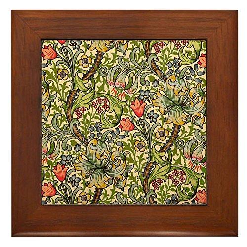 CafePress - William Morris Golden Lily - Framed Tile, Decorative Tile Wall Hanging