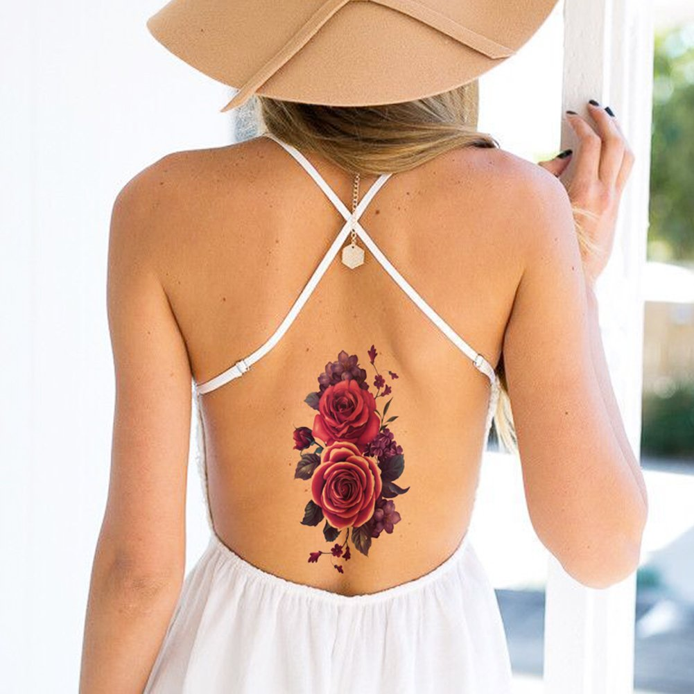 TAFLY Purple Flower Fake Tattoos Blooming Waterproof Body Temporary Tattoo Stickers 5 Sheets