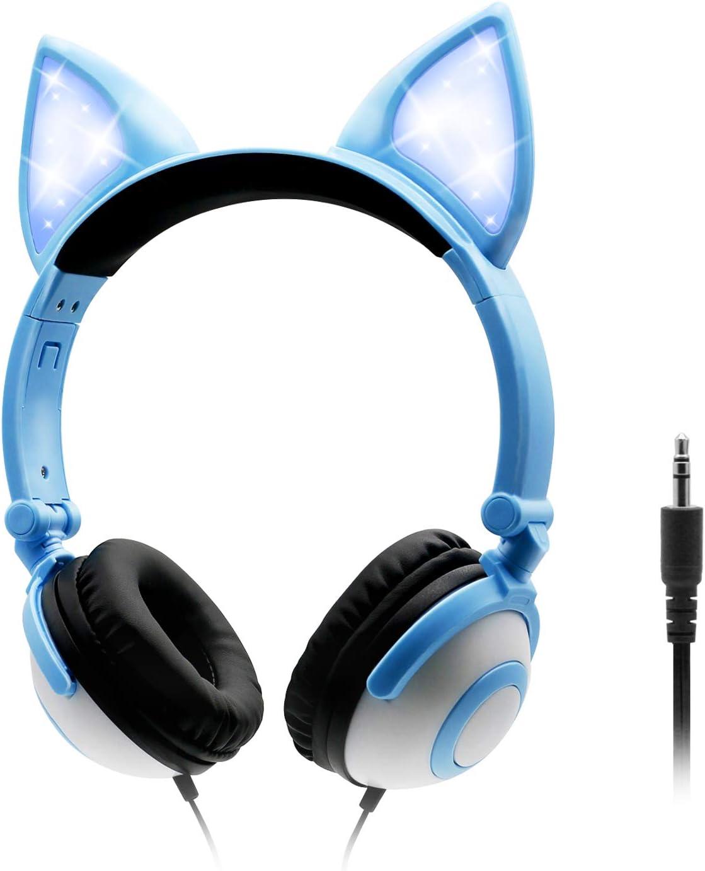 ONTA Auriculares para Niños con LED Brillante De Gatos Monos para Oído, Plegable, Cancelación De Sonido y Ajustables, Auriculares De Pequeños para Niños y Niñas (Azul)
