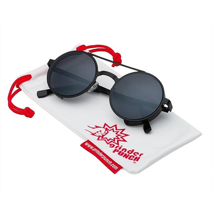 06627076186a grinderPUNCH Women s Round Retro Flat Bar Cat Eye Sunglasses Black Frame