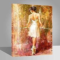 FFYYJJLEI Pintura de Pintura al óleo de Bricolaje por número Decoración para el hogar Mural Pic Value Gift- Hermosa Ballet Backs 16x20 Inch