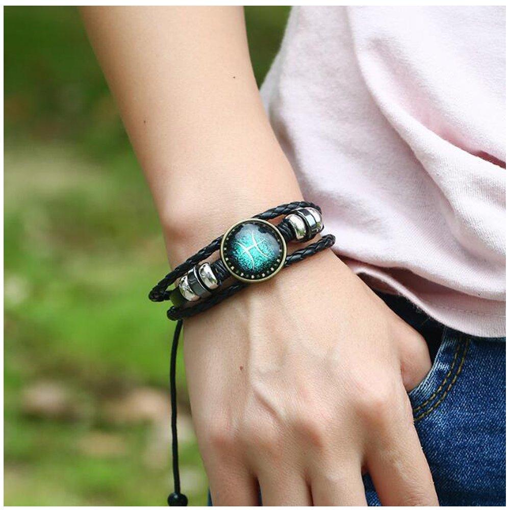 MeiPing Astrological Design 12 Bracelet Unisexe en Cuir de Constellation