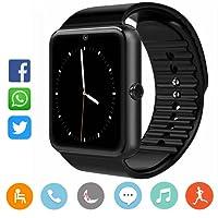 CatShin Smartwatch Android y iOS-Reloj Inteligente Reloj Deportivo-Ranura de Tarjeta SIM,Pulsómetro Podómetro,Monitor de Calorías,Anti-Pérdida Reloj Deporte Smart Watch para Hombre y Mujer-Negro