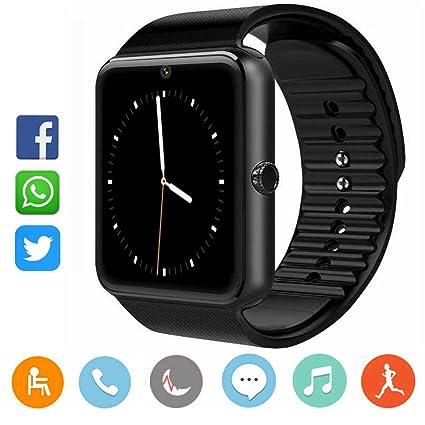 CatShin Smartwatch Android y iOS-Reloj Inteligente Reloj Deportivo Ranura de Tarjeta SIM,Podómetro,Monitor de Calorías,Anti-Pérdida,Twitter, ...