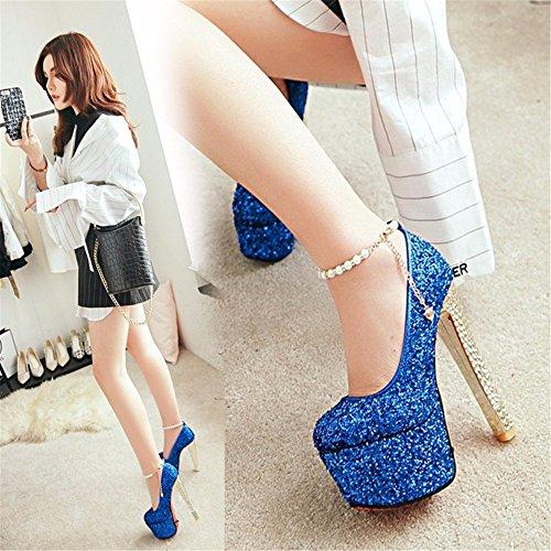 D'Haut Boucle Pailleté Étanches La 15Cm Eu42 Forme Chaussures Plate Catwalk De Robe Bleu De EwFwXxq
