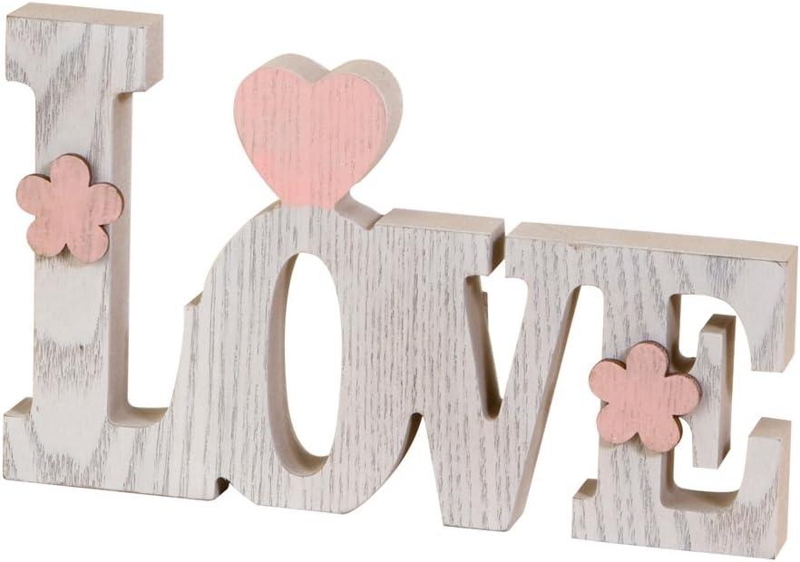 Mopec Decoración Love, Madera, Blanco, 3x20.5x12.2 cm