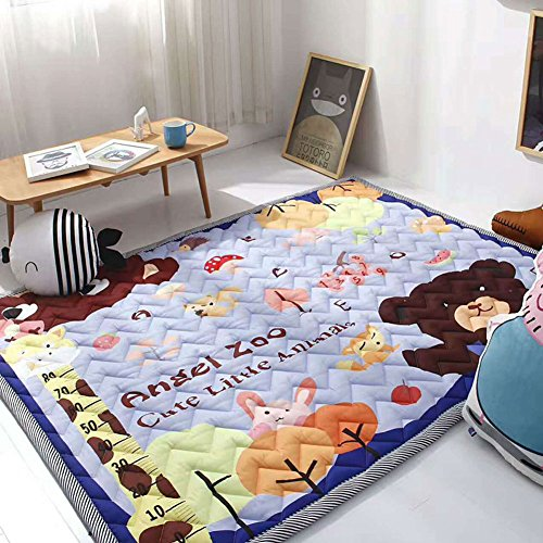 Cusphorn Nursery Rugs Children Play Mat Cute Animal Zoo Printed Cotton Area Rugs Kid's Bedroom (Zoo Mat)