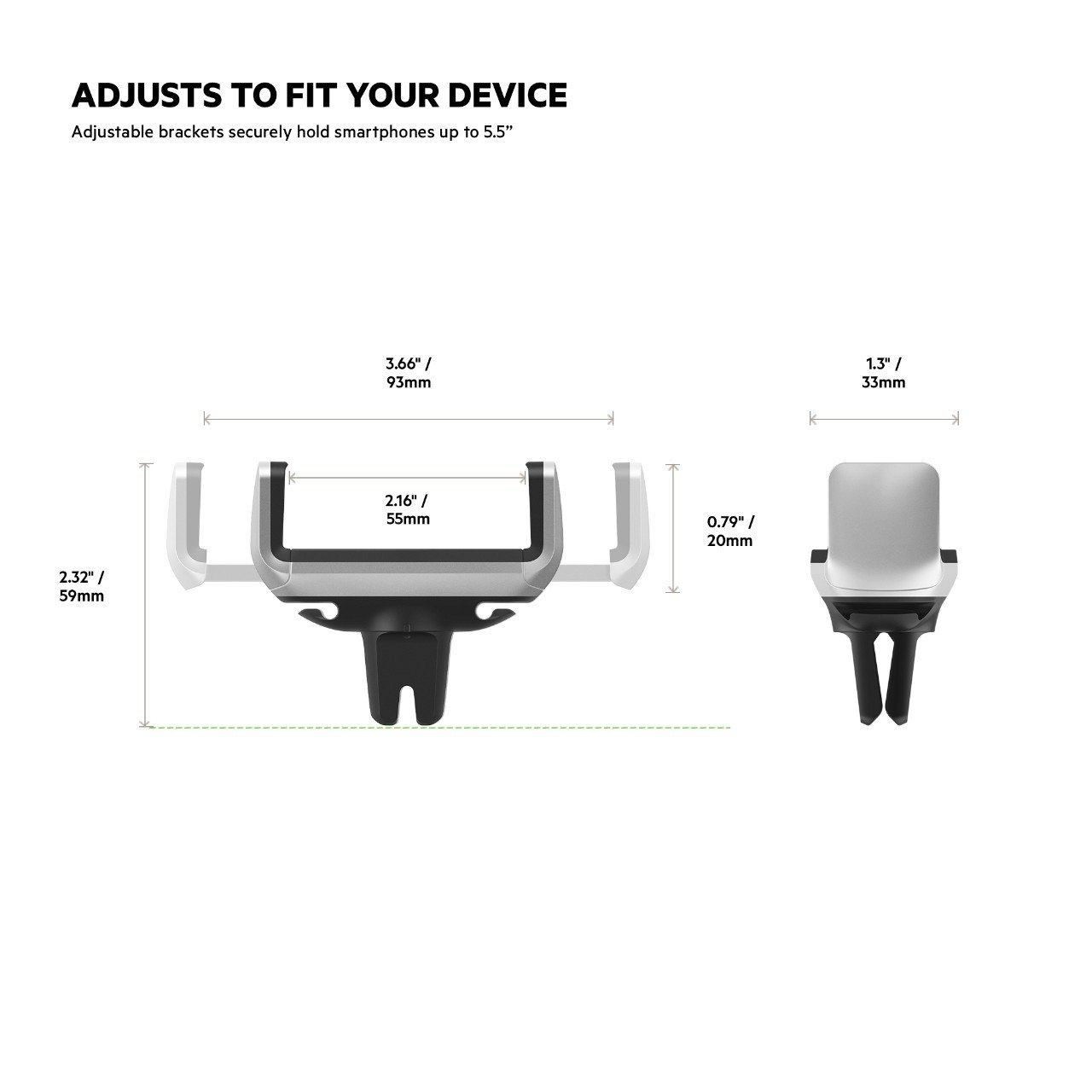 Latest Model Belkin F7U017bt Universal Car Vent Mount for iPhone Samsung Galaxy and Most Smartphones up to 5.5 inches