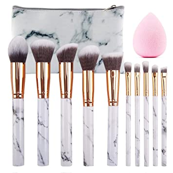 5e229d39003 SEPROFE Make Up Brushes 10 Pieces Marble Pattern Professional Makeup Brush  Set Kabuki Foundation Blending Concealer