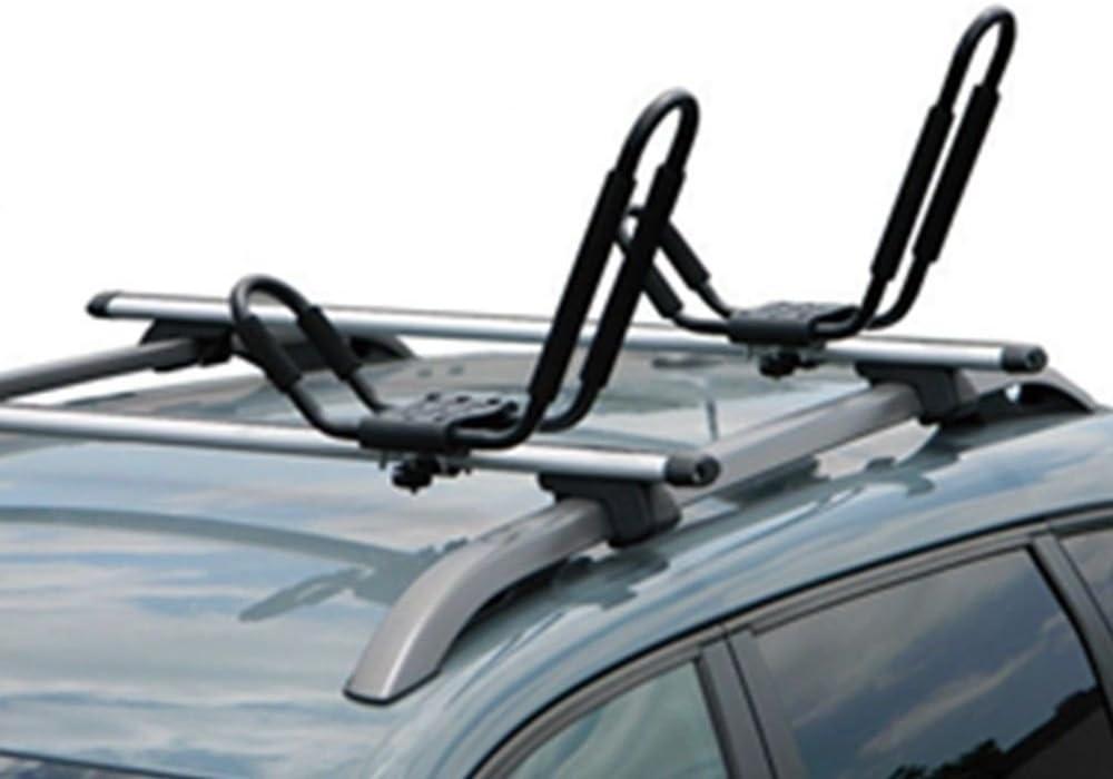 Deebior 2pcs Universal J-Bar Kayak Canoe Roof Racks Folding Cross Bar Carrier Compatible With Surf Ski Boat Snowboard