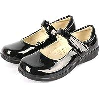 DADAWEN Girl's Strap School Uniform Dress Shoe Mary Jane Flat (Toddler/Little Kid/Big Kid) Black/Patent US Size 13 M…